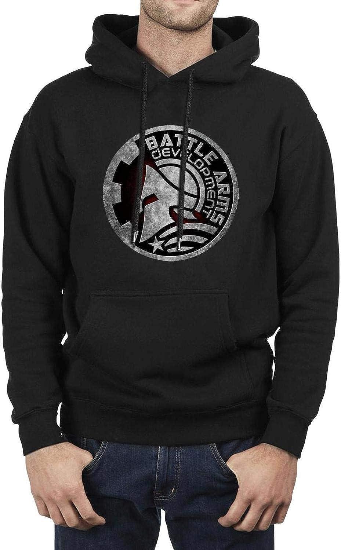 Mens Fleece Sweatshirt Hoodie Heavy Loose Hoodies Battle-Arms-Logo