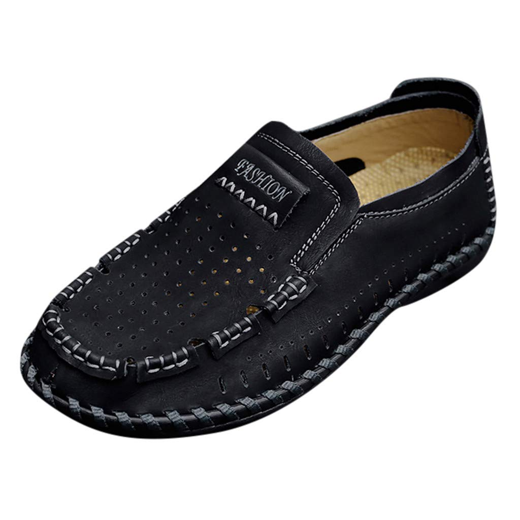 〓COOlCCI〓Men's Loafers & Slip-Ons, Loafer Lightweight Slip On Driving Shoes Penny Loafers Hollow Out Flats Shoes Black