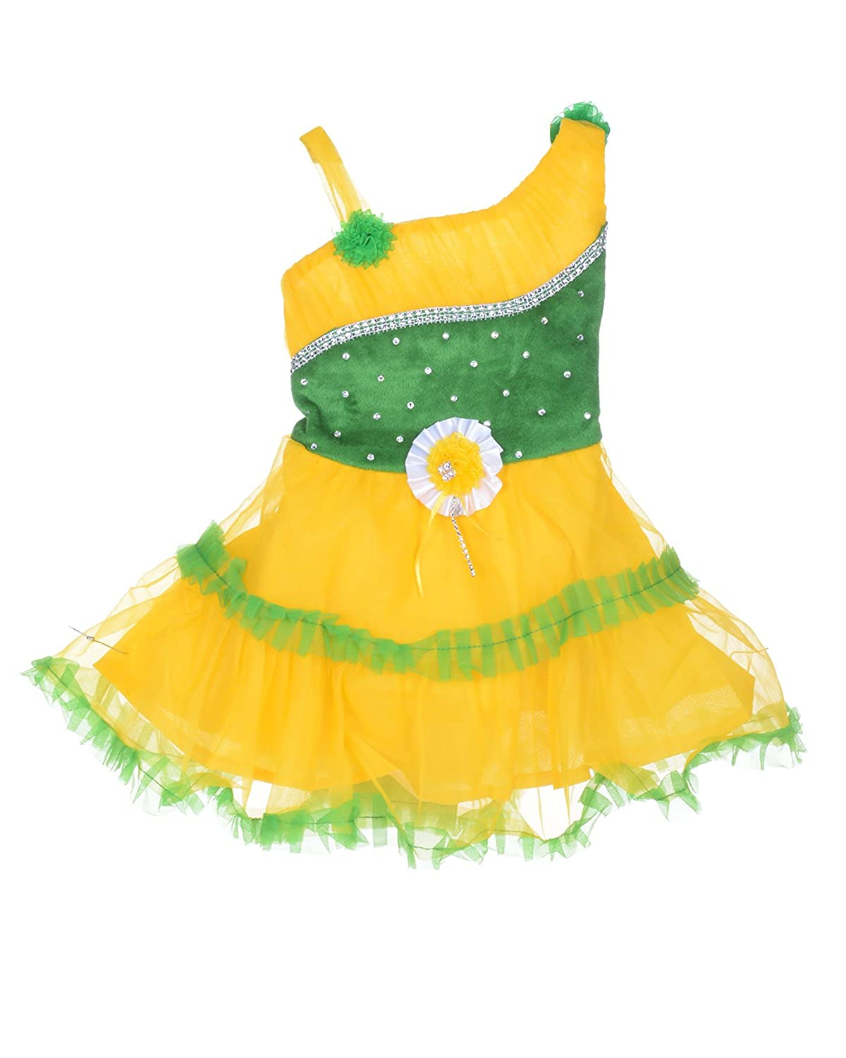 D S Fashion Baby Girls Frock Yellow Green 6 12 Months Amazon