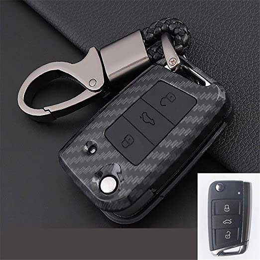 XUWLM Llaveros de automoción para Carbon Car Key Case Cover ...
