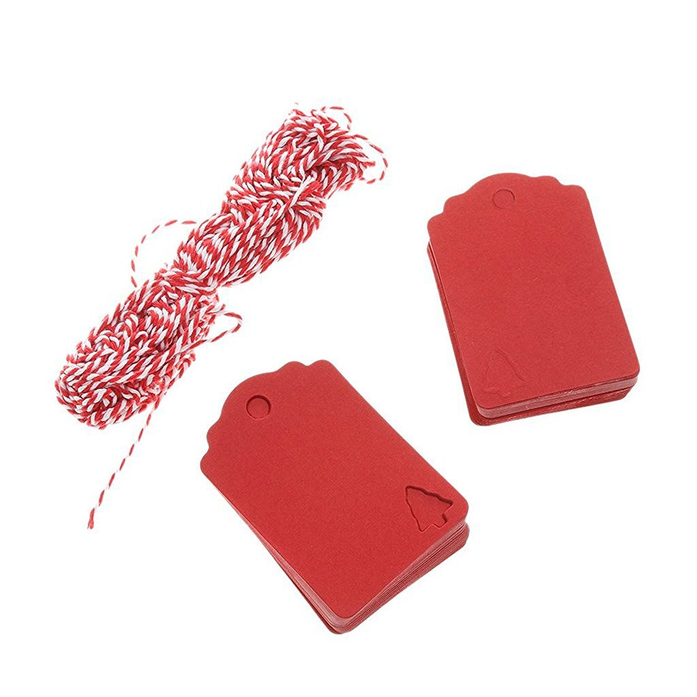 100 Pcs Red Christmas Tree Hanging Tag with 10M Hemp Rope Kraft Paper Decor Present Gift Labels VORCOOL