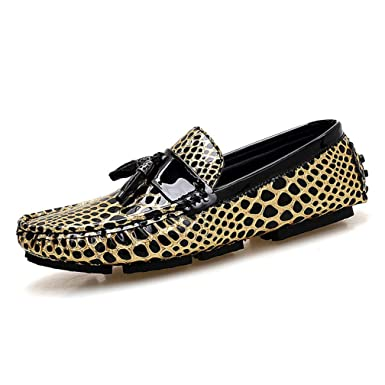 Amazon.com: Leopard Men Slip On Tassel Loafers Moccasins Gold Silver ...