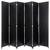 MyGift 6-Foot Black Woven Paper Rattan 6-Panel Room Divider with Two-Way Hinges