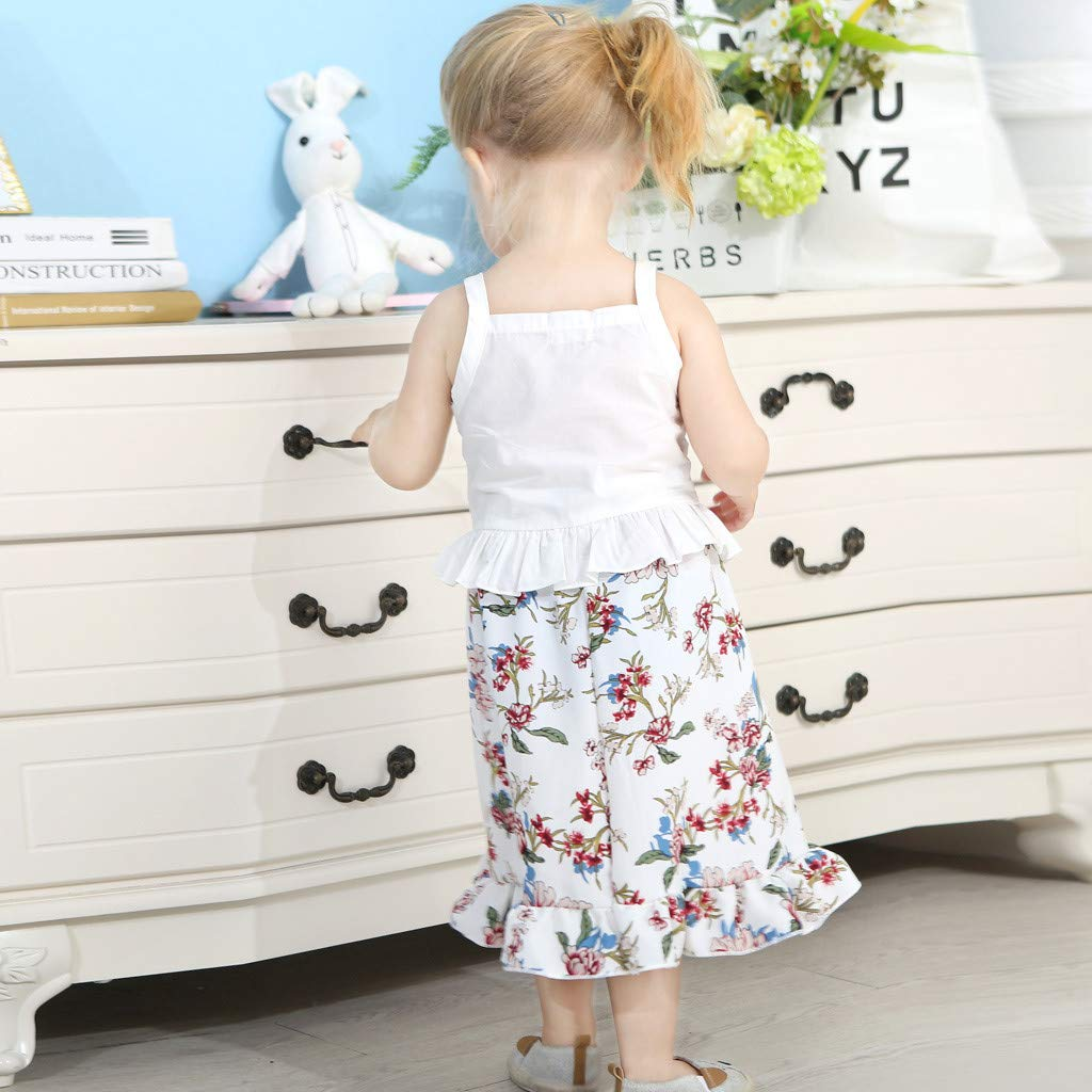 2pcs Baby Girl Dress Set, Toddler Kids Sleeveless Ruffles Vest Tops + Floral Print Skirt Clothes Outfits (18-24 Months, White) by Hopwin Baby girls Suits (Image #8)