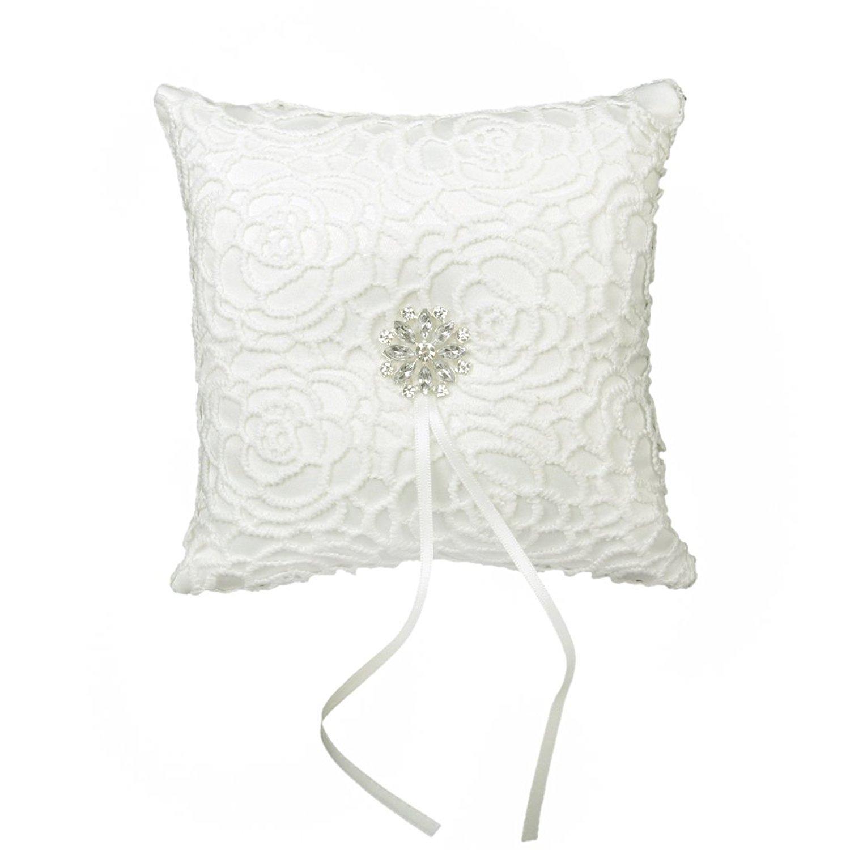 Hilai Cojín para anillos de boda, diseño de flor de diamantes de imitación de satén, 15 x 15 cm, color marfil