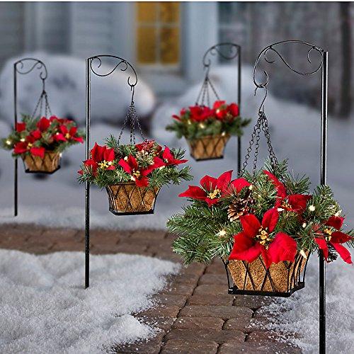 Pre-Lit Poinsettia Christmas Greenery Walkway Hanging Basket - Festive Poinsettia Basket