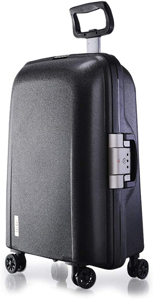 L/&QQ Lightweight Hard Shell Suitcase,Polypropylene Travel 4 Spinner Wheels Suitcase Cabin Hand Luggage with Single Telescopic Rod and TSA Lock,Black,22inch