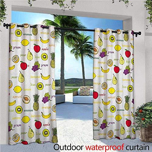 familytaste Fruits Indoor/Outdoor Single Panel Print Window Curtain Kiwi Banana Plums Lemon Orange Pear Grape Apricot Kitchen Food Print Silver Grommet Top Drape W108 x L108 Yellow Cream Purple Ruby