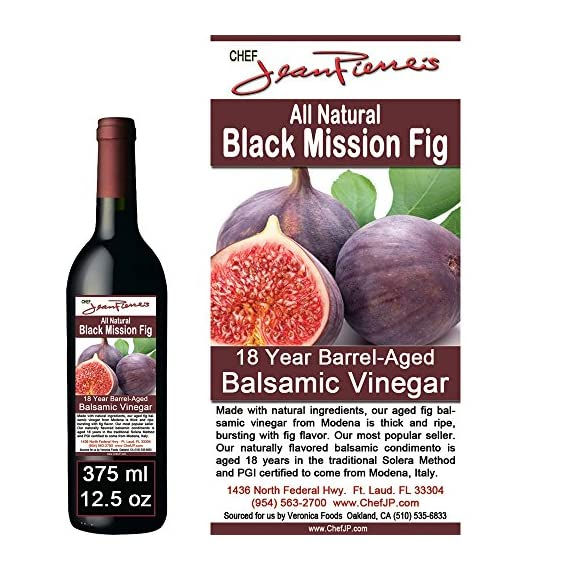 Black Mission Fig Aged 18 Years Italian Balsamic Vinegar 100% All Natural (200ml) (7oz) 1 Dark color, syrupy consistency, rich aroma and complex flavor of Black Mission Fig Aged in 6 types of wood for a minimum of 18 years 100% natural, Certified organic No additive, NO sugar added, NO preservative of any kind