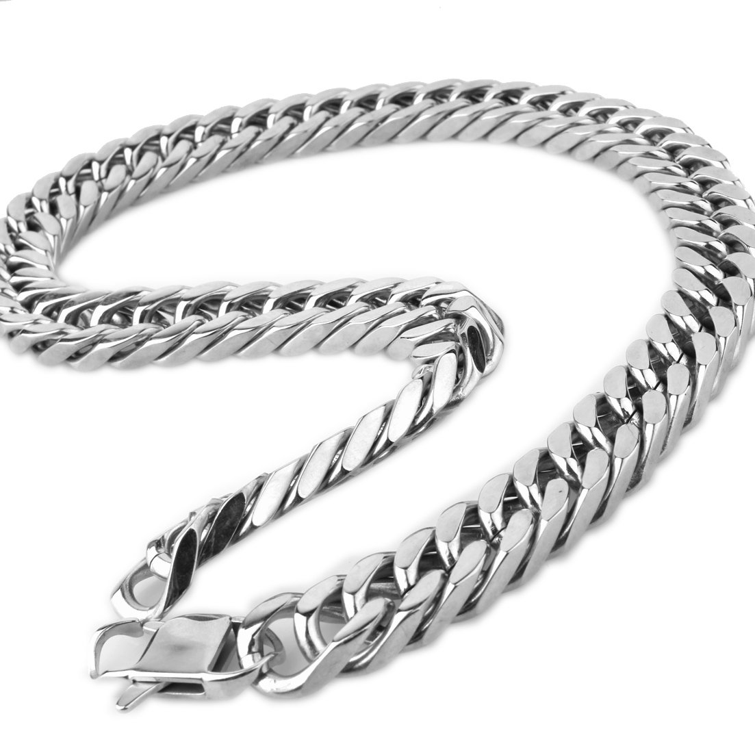 FANS JEWELRY Mens 17MM Heavy Polished 316L Stainless Steel Necklace Bracelet Cuban Curb Chain Link 7-40