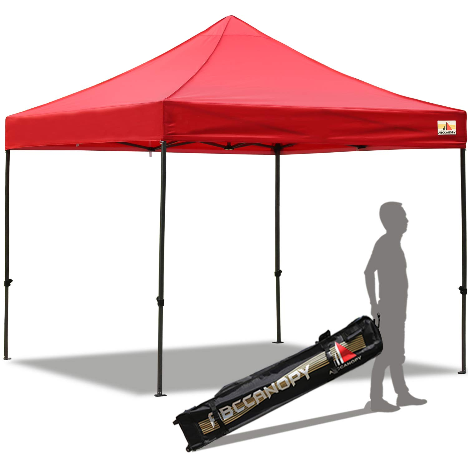 ABCCANOPY Pop up Canopy Tent Commercial Instant Shelter with Wheeled Carry Bag, 10x10 FT Red