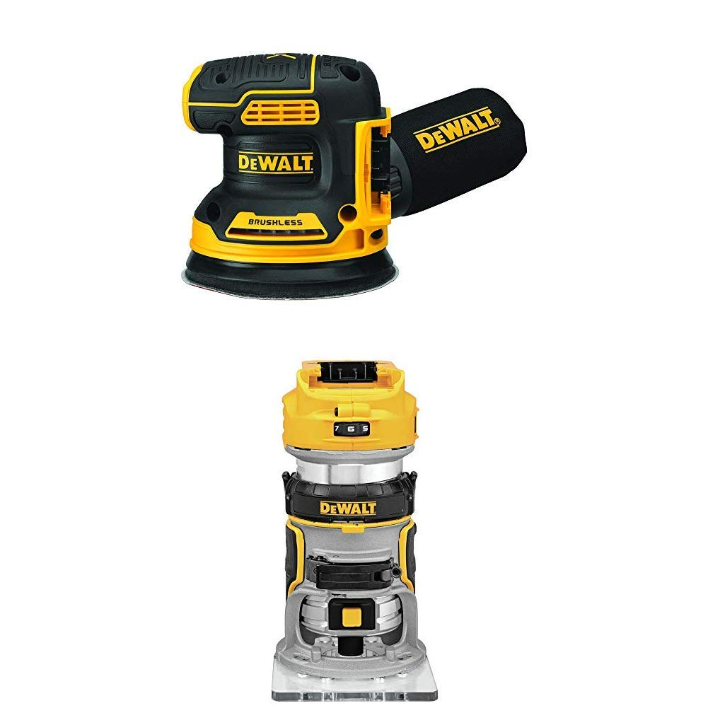 DEWALT 20V MAX Brushless Orbital Sander with Cordless Router, Tools Only (DCW210B & DCW600B)