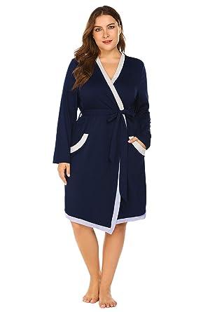 12c20a4f1f Plus Size Women Waffle Bathrobe Lightweight Kimono Robes Spa Robes  Sleepwear Loungewear