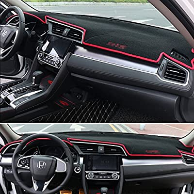 GTINTHEBOX Custom Fit Dashboard Black w/Red Rim Center Console Cover Dash Mat Protector Sunshield Cover Pad Carpet for Honda 10th Civic 2016 2020 2020 Coupe Hatchback: Automotive