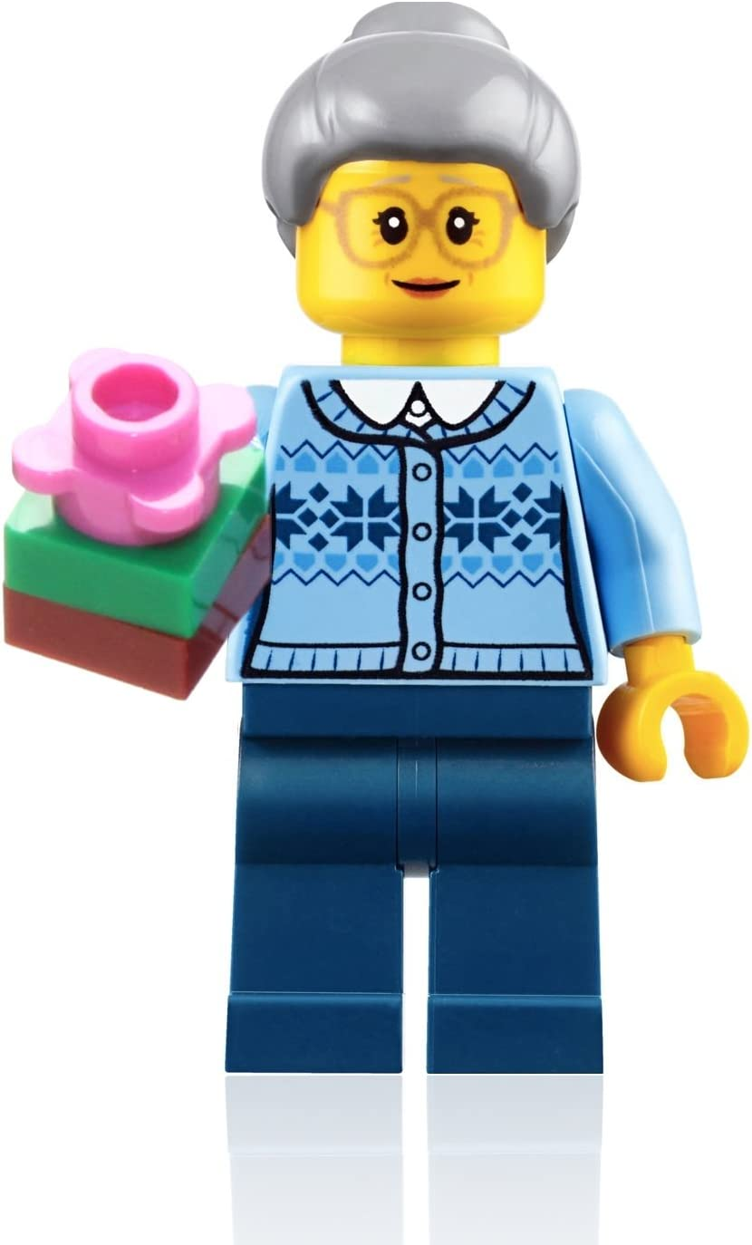 with Sweater /& Gift 60155 LEGO Holiday Minifigure Grandmother Figure