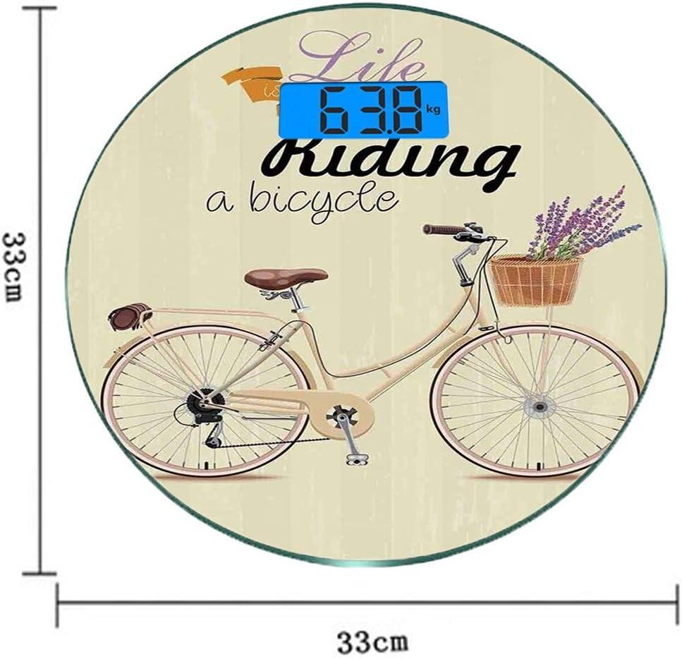 Redondo Básculas digitales de peso corporal ultradelgadas de vidrio templado Bicicleta Sensores de precisión Báscula de baño Mediciones de peso Ilustración de bicicleta antigua Boho Pop Art con una ce: Amazon.es: Salud
