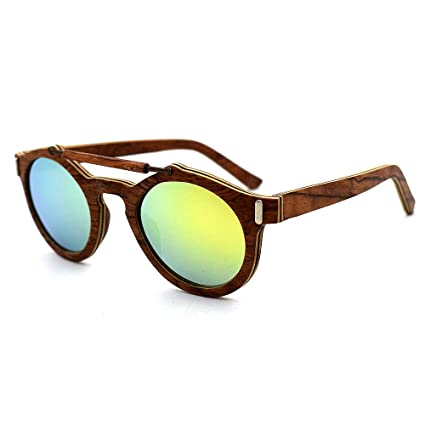 Aclth Gafas de Sol de Madera Hechas a Mano, Unisex, Lentes de Colores UV400