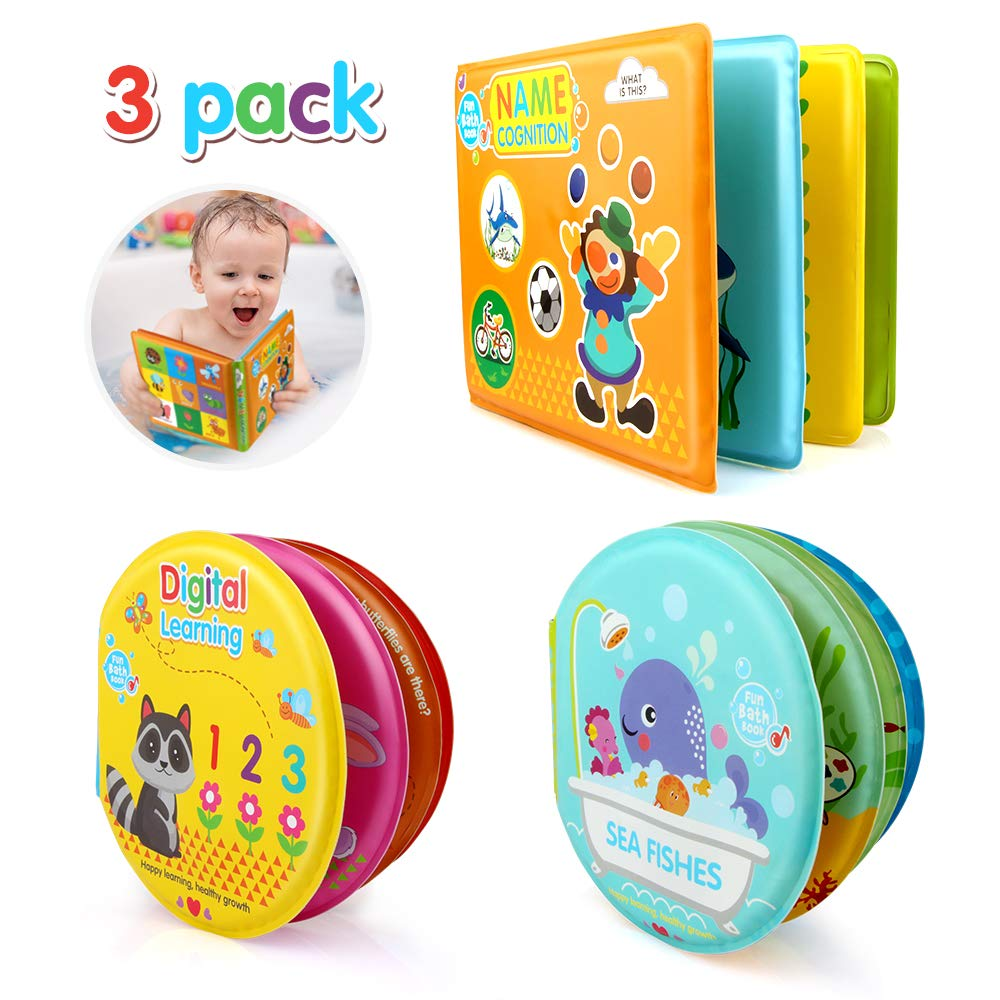 Growsland Baby Bath Book Educational Toys, Bathtub Waterproof Floating Animals Number Learning and Sound Toys First Book for Kids Toddlers Bath Time