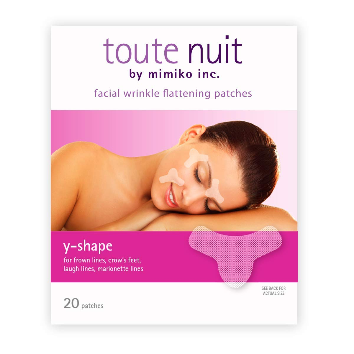 Toute Nuit Wrinkle Patches, Face Tape, Y-Shape - Preventing Frown Lines, Forehead and Around Lips - 20 Patches