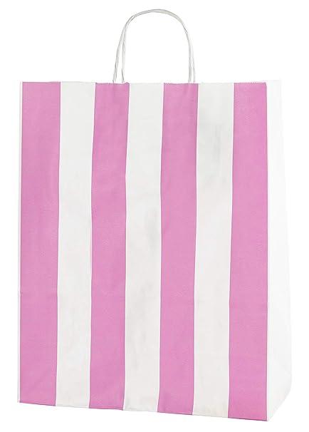 Thepaperbagstore 30 Bolsas De Papel De Colores, Reciclables Y Reutilizables, con Asas Retorcidas, Rayas Rosa Y Blanco - Medianas 250x110x310mm