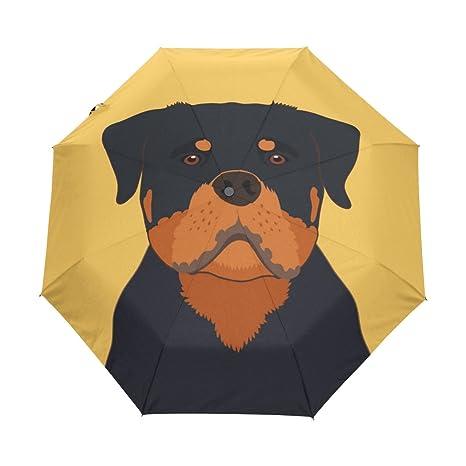 ALAZA Viaje del perro de Rottweiler automático de apertura/cierre del paraguas con la anti