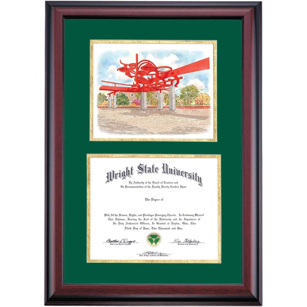 Campus Linens Wright State Raiders Diploma Frame Green Gold Matting Watercolor