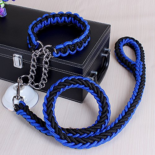 3' Twist Pull (ACCENTORY Dog Nylon Adjustable Loop Slip Leash Rope Lead 1.2m Pet Products Remington Rope Slip Dog Leash 6-Feet Training Leashes (XL, black-blue))