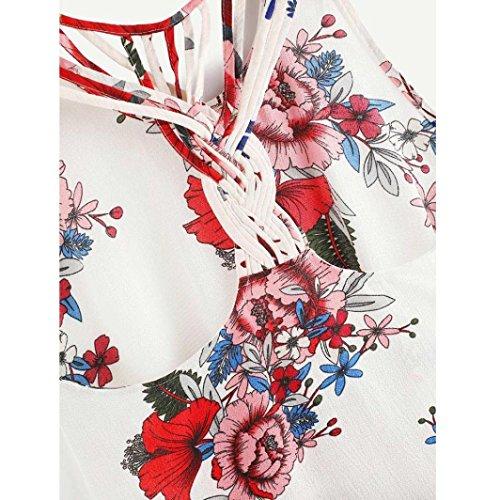 Tank Impression Crop Femmes Blouse D'T Sexy Vest Top t Shirt sans Manches Blanc Florale Cami zxR4Aw