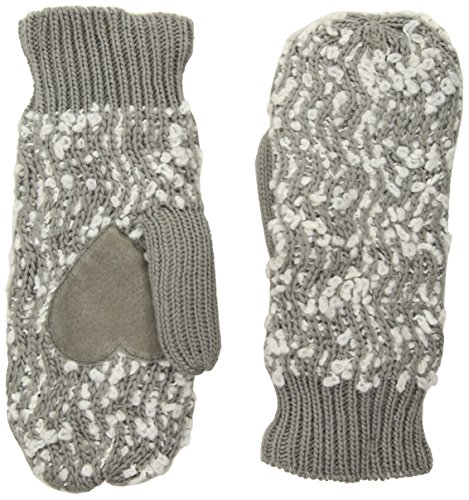 Isotoner Women's Chunky Cable Knit Sherpasoft Mittens, Chrome, One (Cable Knit Mittens)
