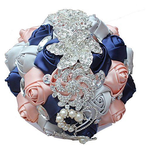 Jackcsale Bride Bridal Bouquet Brooch Bouquet Bridesmaid Holding Wedding Flowers (W228 Diameter 18cm Navy+Silver+Pink)