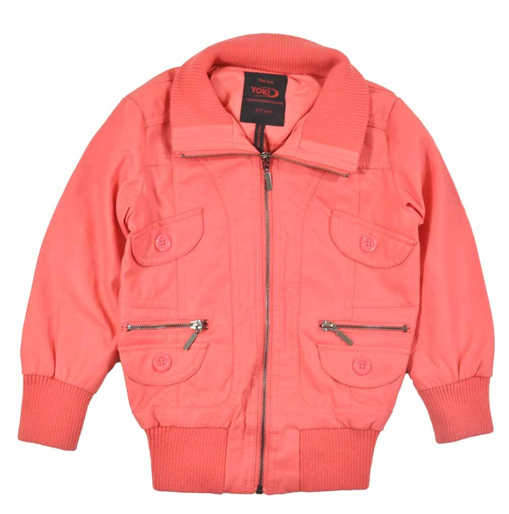 Yoki Girls Faux Leather Short Outerwear Jacket (5/6, Coral)