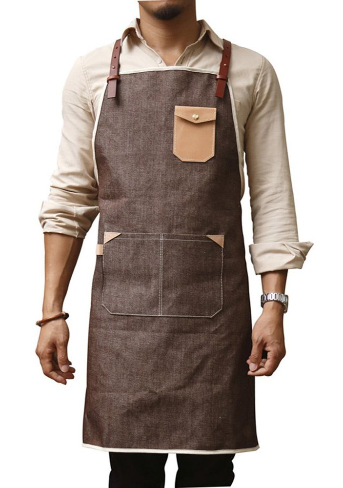 Denim Chef Apron, Heavy Duty Waxed Canvas Work Apron with Tool Pockets, Metal Buckle, Cross Back Straps & Adjustable M to XXL