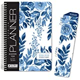 "HARDCOVER Academic Year Planner 2018-2019 - 5.5""x8"" Daily Planner/Weekly Planner/Monthly Planner/Yearly Agenda. Bonus Bookmark (Blue Bloom)"