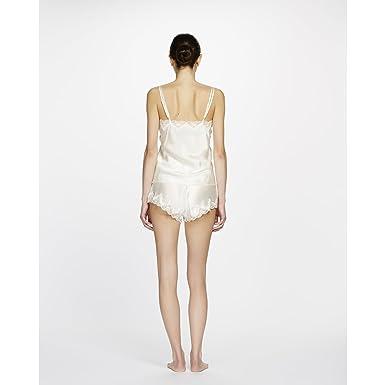 Ginia Pure Silk Scalloped Lace Edge Shorts in Cream UK8 EU36 US4 Cream 4289059e7