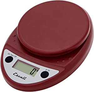 Escali Primo P115WR Precision Kitchen Food Scale for Baking and Cooking, Lightweight and Durable Design, LCD Digital Display, Lifetime ltd. Warranty, Warm Red