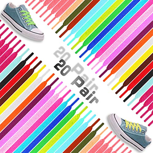 ISusser 20 Pairs 47 inch Flat Colored Athletic Shoe Laces for Sports Shoes Boots Sneakers Skates ()