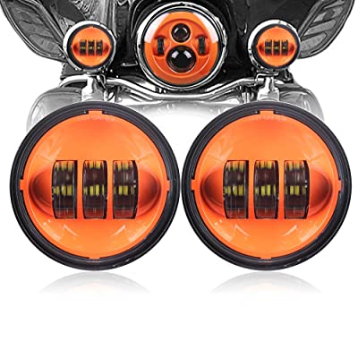 Dot approved 1 Pair 4.5 Inch LED Spot Fog Passing Light LED Fog Lamps for Motorcycles Auxiliary Light Bulb Motorcycle Projector Driving Lamp (Orange) …: Automotive