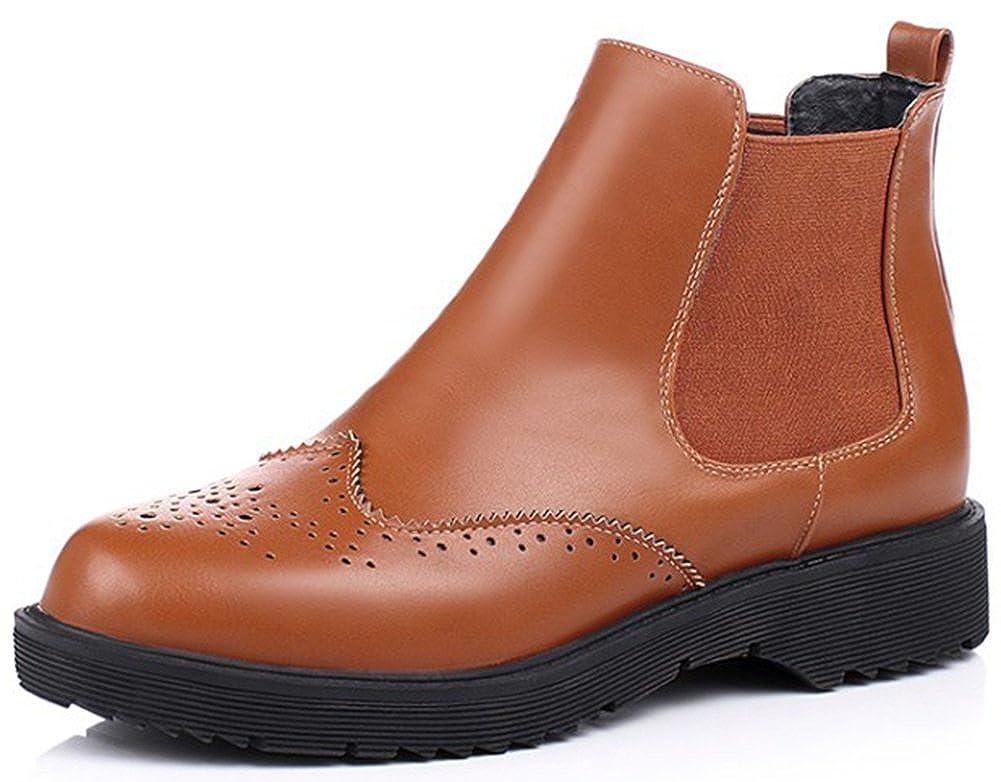Women's Trendy Elastic Round Toe Chelsea Booties Low Heel Slip-on Brogue Ankle Boots