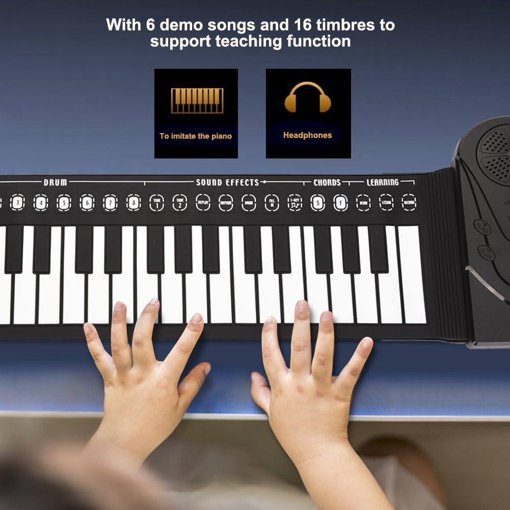 Dilwe Pianoforte Roll Up, Pianoforte Pieghevole Portatile 49 Tasti Tastiera Musicale per Bambini Principianti Nero