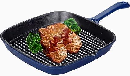 Heavy Duty Cast Iron Frying Pan Grill Steak Meat Cooking Pot Cookware Kitchen UK