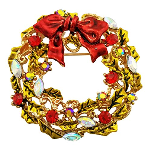 SELOVO Round Wreath Brooch Pin Gold Tone Austrian Crystal Red Green Round Wreath Pin