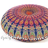 "Eyes of India 32"" Blue Large Mandala Floor Pillow Meditation Cushion Seating Throw Cover Hippie Decorative Bohemian Boho Indian Pouf Ottoman"