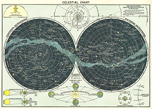 Cavallini & Co. Celestial Chart Poster Wrapping Paper Sheet