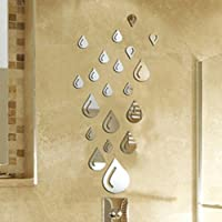 Bodhi2000 Water Drop Wall Sticker Raindrop Modern Stylish Fashion Art Design Removable DIY Acrylic 3D Mirror Wall Decal for Bathroom Sitting Room Home Decoration