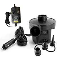KERUITA Electric Pump Quick-Fill Air Pump for Inflatables Airbed Pump Pool Toy Float Pump 220V AC/12V DC Black(AC+DC)