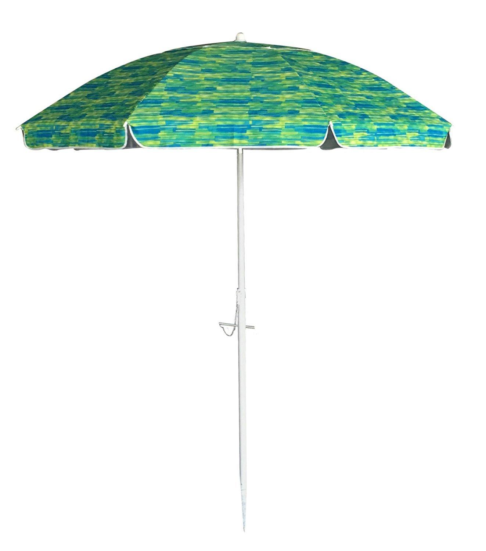 SueSport Sand Anchor 7 feet Beach Umbrella with Tilt and Telescoping Pole