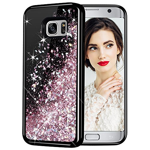 Caka Galaxy S7 Edge Case, Galaxy S7 Edge Glitter Case Starry Night Series Luxury Fashion Bling Flowing Liquid Floating Sparkle Glitter Girly Soft TPU Case for Samsung Galaxy S7 Edge (Rose Gold)