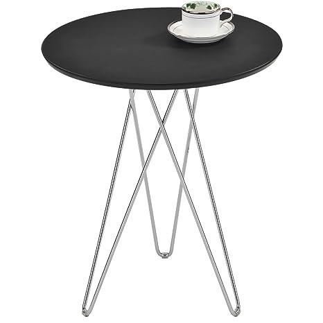 IDIMEX Table d appoint BENNO Table Basse Ronde Bout de canapé Design Retro Vintage  Industriel avec Pieds en épingle en métal chromé, Plateau en MDF décor ... 69aad6b032fc