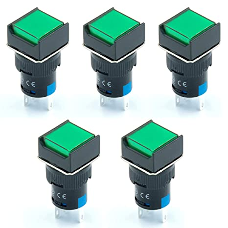 Latching Type Green LED Lamp Round Push Button Switch DC 3V 2 PACK -