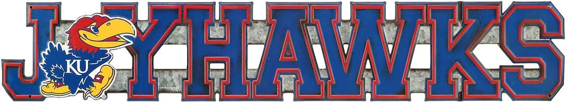 Open Road Brands University of Kansas KU Jayhawk Embossed Tin Word Sign